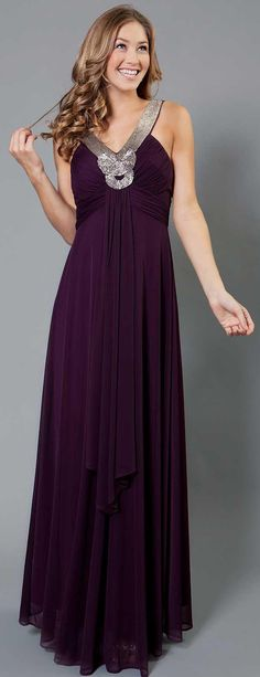 Long Formal Dress With Embellished Neckline