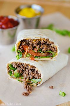 Bacon Cheeseburger Wraps. Would use ground turkey instead of beef.