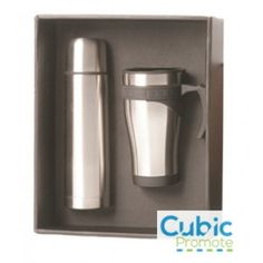 A stylish gift set with which to impress prospective patrons of your business. This item consists of a vacuum flask and a mug, both built and finished in durable and robust stainless steel. The flask features a sleek monolithic design, while t Drink Containers, Promotional Giveaways, Vacuum Flask, Branded Gifts, Laser Engraving, Two By Two, How To Apply, Mugs, Design
