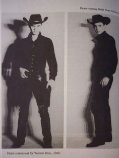 Warner Brothers screen test 1960.  OMG!!!! It's don dressed as a cowboy!!!! *faints*