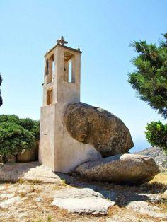 Bell tower in Ikaria island, central Aegean sea, Greece Ikaria Greece, Wonderful Places, Beautiful Places, Greece Art, Cathedral Basilica, Greece Islands, Greece Travel, Crete, Beautiful Islands