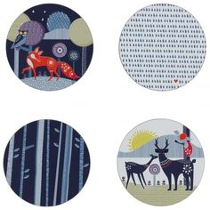 Wild & Wolf Folklore Woodland Animals & Spring Rain Coasters - Set of 4