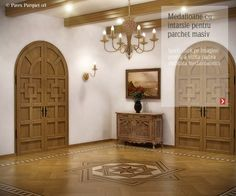 Hardwood floor borders, hardwood floor medallions, inlays for parquet flooring. Pavex Parquet's collections of decorative borders and medallions patterns. Parquet Flooring, Hardwood Floors, Decorative Borders, Sweet Home, Art Deco, Mirror, House, Furniture, Home Decor