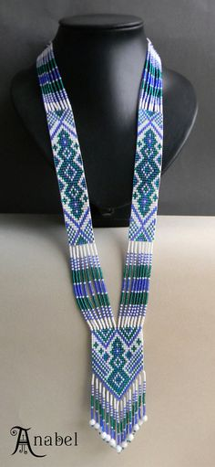 Ethnic Long Beaded Necklace  beadwoven long by Anabel27shop, #beadwork