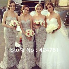 Mermaid Gray Lace Bridesmaid Dresses Long Floor Length Wedding Party Dresses 2014 New Arrival US $138.00