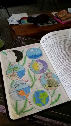 Bible Jouraling Illustrated Faith Creation Genesis In the Beginning...