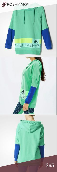 Stella McCartney Adidas SC Long Hoodie sz. L NWT New with tags!  Stella Sport Adidas.  Climalite, keeps your body dry by drawing sweat away from the skin.  Color: Brtgrn/boblue  SZ: L Stella McCartney Tops Sweatshirts & Hoodies