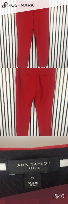Ann Taylor Red Work Cropped Ankle Pants Petite Super cute red pants from Ann Taylor. There is piling and wear on the pants. Fair condition.  All offers welcomed. No trades or modeling.  121JWW10 Ann Taylor Pants Ankle & Cropped