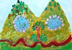 NFAC July Something Hidden ACEO Twin Peeks Original Primitive whimsical cartoon #Miniature