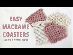This a great beginners tutorial for simple square, and heart shaped macrame coasters. If you have never tried macrame, here is a link to learn the basic knot. Macrame Patterns, Sewing Patterns, Heart Diy, Craft Business, Business Ideas, Diy Coasters, Macrame Projects, Hanging Hearts, Macrame Tutorial