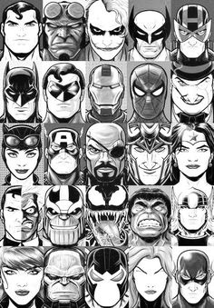 :original caption: think I know them all in order (Superman, Hellboy, The Joker, Wolverine, Hawkeye, Batman, Green Lantern, Iron Man, Spider-Man, The Penguin, Catwoman, Captain America, Nick Fury, Loki, Wonder Woman, Two Face, Thanos, Venom, The Incredible Hulk, Thor, Black Widow, Darkseid, Bane, Black Canary, and The Flash.