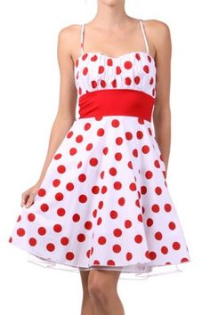 White Red Polka Dot Retro Vintage Style Dress