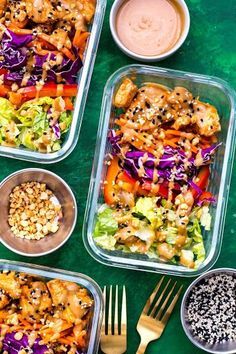 Thai Chicken Meal Prep Bowls with Peanut Sauce Recipe on Yummly. Yummly Thai Chicken Meal Prep Bowls with Peanut Sauce Recipe on Yummly. Lunch Meal Prep, Meal Prep Bowls, Healthy Meal Prep, Healthy Snacks, Healthy Eating, Healthy Recipes, Cooking Recipes, Keto Recipes, Fast Recipes
