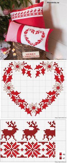 54 Ideas For Embroidery Christmas Ideas Cross Stitch Cross Stitch Christmas Ornaments, Xmas Cross Stitch, Cross Stitch Heart, Cross Stitch Cards, Cross Stitch Borders, Christmas Cross, Cross Stitching, Cross Stitch Embroidery, Cross Stitch Patterns