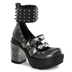 Demonia Sinister-62 Spiked Mary Jane Shoes