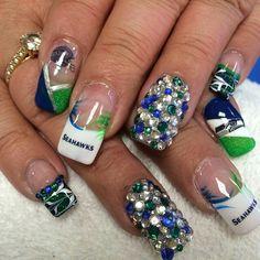 SB48 EDITION: Seahawks nail art