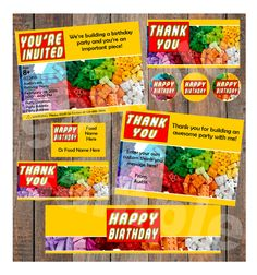 Lego Birthday Instant Party Package Template - (Invitation, Thank You, Cupcake Toppers, Water Bottle Labels, Food Tent Cards, Stickers) door SimpleJoysStudio op Etsy https://www.etsy.com/nl/listing/270075571/lego-birthday-instant-party-package