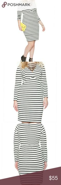 """NWT Striped Lace-Up Bodycon Dress by Eloquii This is a NWT striped black & white lace-up dress by Eloquii in a sz 16. Runs a little small - closer to a 14.   From Eloquii: Turn up the temperature in our striped bodycon dress, featuring a bold, plunging deep-V neckline adorned with fixed laces. Invisible back zipper with hook and eye closure. Bodycon silhouette. Medium stretch ponte knit fabric. Body Length: 39"""" 84% Polyester / 11% Rayon / 5% Spandex Eloquii Dresses Long Sleeve"""