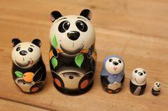 Panda Nesting doll stacking dolls matryoshka russian dolls set of 5
