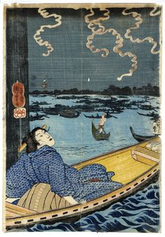 A woman on a boat enjoying Sumida river breeze under fireworks (a part of 両国納涼花火)