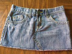 ROXY Denim size 7 blue denim cotton tattered hem short micro mini jean skirt  #ROXY #Mini