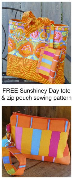 FREE Sunshiney Day tote & zip pouch sewing pattern.