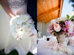White bridal bouquet and pink, peach centerpiece in birch bark vase.  Photos by Jos Photographers