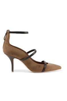 MALONE SOULIERS Designer Shoes, Maureen Suede and Cherry Nappa Flat Pumps