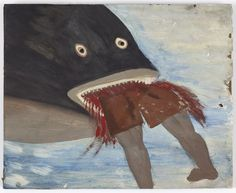'Man Eaten by Shark' by Antiguan artist Frank Walter Francis Archibald Wentworth Walter, self-styled Prince of the West Indies, Lord of Follies and the Ding-a-Ding Nook) Art And Illustration, Caribbean Art, Art Basel Miami, Contemporary Art Daily, Naive Art, Outsider Art, Teaching Art, Painting Inspiration, Art Forms