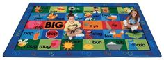 """Carpets for Kids Rhyme Time Rug (Factory Second) - Rectangle - 8'4"""" x 13'4"""" by Carpets for Kids. $319.95. Rhyme Time Rug (Factory Second) - 8'4"""" x 13'4"""" - Rectangle by Carpets for Kids. Hat:Cat, Fan:Man, Jam:Ram. This seating rug has fun and silly icons that rhyme from left to right. Each row features a different vowel from the alphabet. Thirty spaces in total provide enough room for each child to sit comfortably, and an alphabet border throws in an extra element of literacy!"""