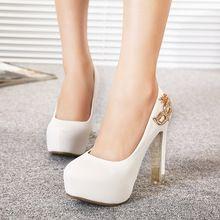 Nueva moda tacones altos zapatos de mujer plataforma 2015 punta redonda bombea los zapatos para novia boda del verano del resorte para mujer del partido zapatos(China (Mainland))