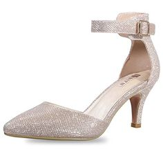 1274ace5a IDIFU Women s IN3 D Orsay Pointed Toe Ankle Strap Mid Heel Pump (Gold  Glitter