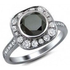 2.75 ct Round Cut Black Diamond Ring in 925 Sterling Silver