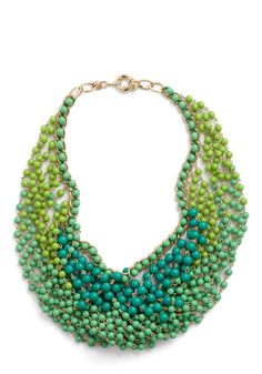 Statement of the Art Necklace in Peacock - Green, Gold, Solid