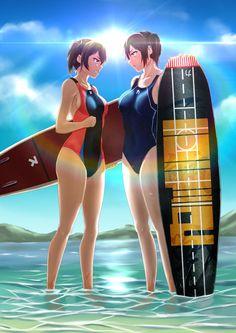 yande.re 378685 kaga_(kancolle) kantai_collection parsue swimsuits wet zuikaku_(kancolle).jpg (1447×2047)