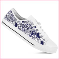 Roses Skull and Bones Cross Lace Up Sneakers Canvas Skate Shoes for Women Lightweight