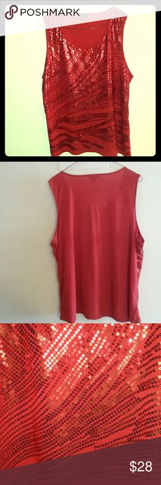 4x Vibrant Red sequin tank top beautiful wear Sexy fit  Vibrant shiny color  Great feel  Awesome fit  Awesome choice . George Tops Tank Tops