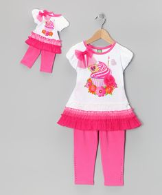 Take a look at this Pink Cupcake Skirted Tunic Set & Doll Outfit - Girls on zulily today!