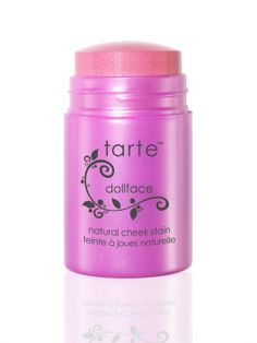 cheek stain - Tarte Cosmetics in Dollface (sheer candy pink with touch of shimmer) $30 Dollface, discontinued by Sephora, still found on Tarte.com