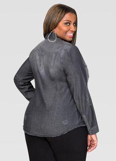 2bce2580d7e Grey Wash Destructed Denim Shirt. Ashley StewartPlus Size ...