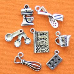 Baking Charm Collection Antique Tibetan Silver Tone 7 Different Charms - COL249 on Etsy, $2.95