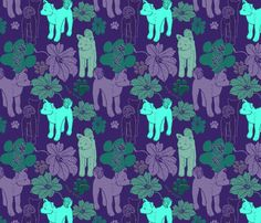 Hawaiian shirt print with flowers and Akitas, eeeeeee!!! :D Also wallpaper, decal, wrapping paper
