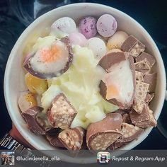 Lucinda's Easter Yog looks too good to not repost! Cadbury's mini eggs and Creme egg with malteaser bunnies on a refreshing exclusive Pineapple Yog! Winning! Apart from the yog flavour you can get this tomorrow! We still have Easter toppings for you lot giving up your dechox today!  Repost from @lucinderella_ella using @RepostRegramApp - Easter vibes from last week @theyogbar #easter #cremeegg #minieggs #cadbury #malteaserbunny #yogbar #pineapplefrozenyogurt ##frozenyogurt #dessert #hoylake…