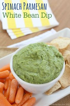 Spinach Parmesan White Bean Dip - a simple five-ingredient appetizer or snack with veggies, protein and cheese | cupcakesandkalechips.com | gluten free recipe, vegetarian