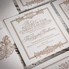 Rivertown Press & Paperie offers letterpressed A7 (Bottom) Pocketfolds! Present your letterpressed wedding suite in a one-of-kind coordinating pocketfold. We are happy to customize your pocketfold with your monogram, special word, or phrase. Invitation card is adhered to the
