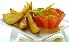 Butternut Dip with Roasted Potato Wedges