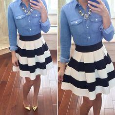 Shirt: Loft, Skirt: Modcloth Stripe It Lucky Skirt, Necklace: J.Crew Factory....cute minus the shoes