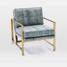 Metal Frame Upholstered Chair | west elm Leafed Tapestry, Dusty Sky - $599 special (less 20% is $479.20)