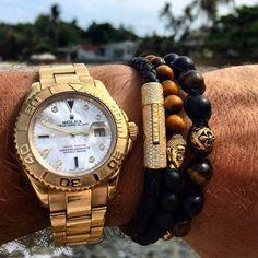Men's Wristband with Tiger Eye, Matte Onyx and Gold Buddha - Nialaya Jewelry Stylish Watches, Luxury Watches, Cool Watches, Rolex Watches, Emporio Armani, Hermes Jewelry, Jewellery, Automatic Watches For Men, Stylish Jewelry