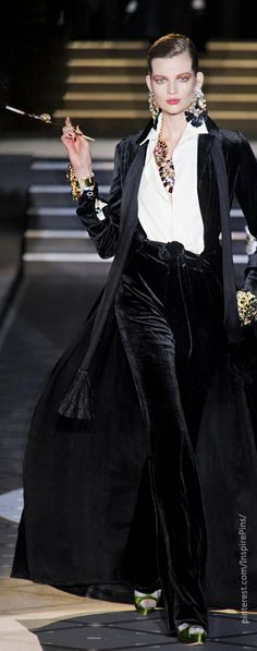 Milan Fall 2013 - Dsquared²...black velvet pants with poison ivy shoes.